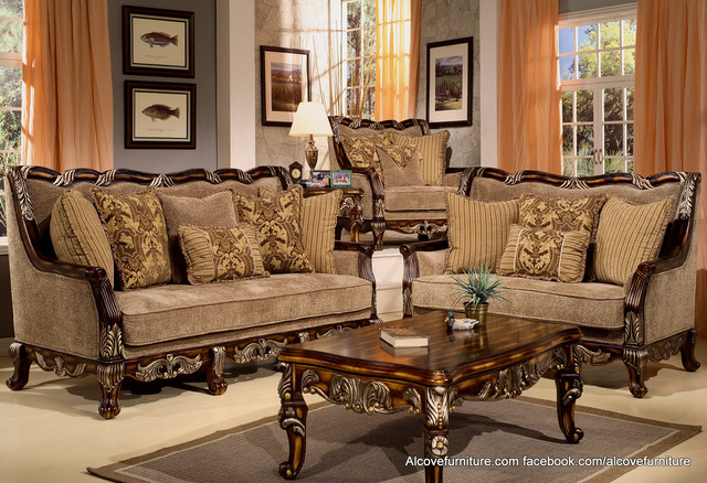Traditional sofa sets living room sets living room for Traditional living room sets