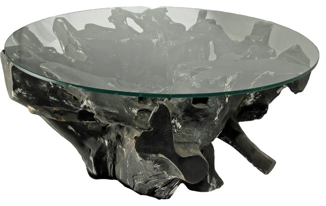 Teak tree trunk glass coffee table round black color Tree trunk coffee table glass top