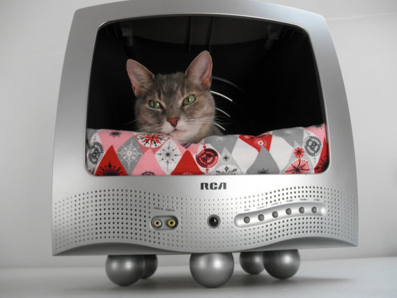 Recycled TV Pet Bed By Lucky Lenore Vintage Eclectic Cat Beds