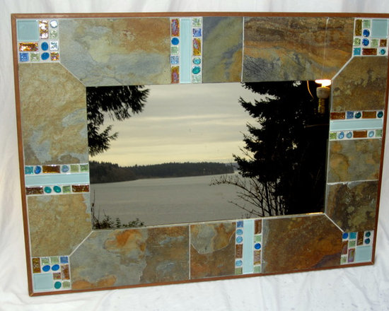 """The original South Sound mirror - A custom designed, handcrafted mirror that combines natural slate with a variety of glass tiles. The contrast between the rough texture of the slate and the iridescent quality of the tiles, that change in appearance depending on the available light, make it a dynamic piece of art.  Can be hung both indoors and outdoors.   Measures: 37"""" x 27"""""""