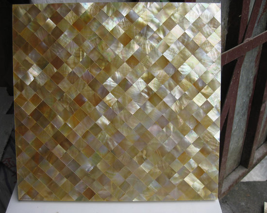 Golden mother of pearl tiles in factory - visit www.dintin.com and contact us,we have complete range of natural mother of pearl mosaic tiles,also many designs have not been uploaded to houzz & our store,custom size and custom pattern welcome.worldwide shipping!