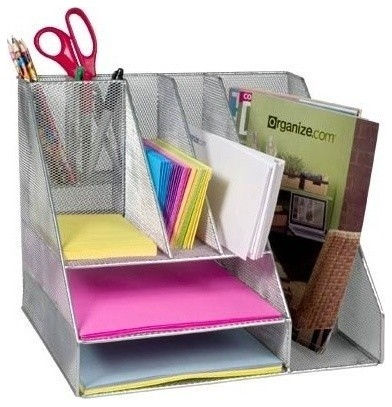 Mesh desk organizer silver modern desk accessories - Designer desk accessories and organizers ...