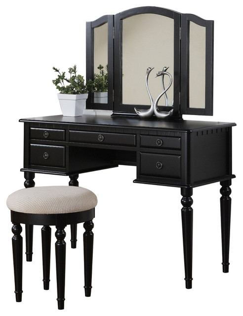 Tri Folding Mirror Make Up Table Vanity Set Wood W Stool 5 Drawers Black