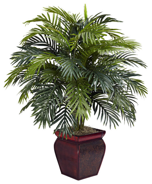 Areca with decorative planter silk plant contemporary for Modern indoor plants