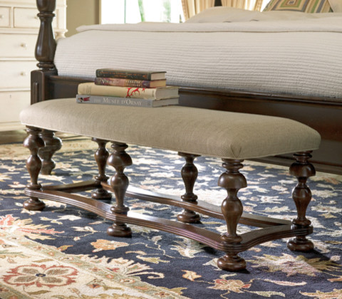 Paula Deen Bed End Bench in Tobacco traditional-upholstered-benches