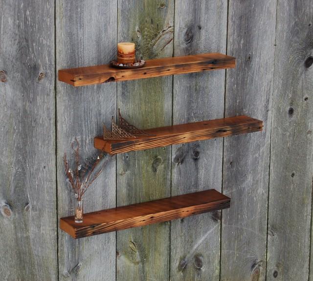Vintage Barnwood Weathered Edge Floating Shelves Set Of