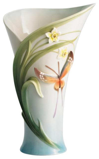 FRANZ PORCELAIN COLLECTION Papillon Butterfly Vase FZ01216