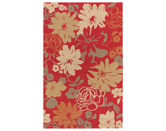 Hand-hooked Rain Tomato Red Floral Indoor/Outdoor Floral Rug (8' x10') contemporary-originals-and-limited-editions
