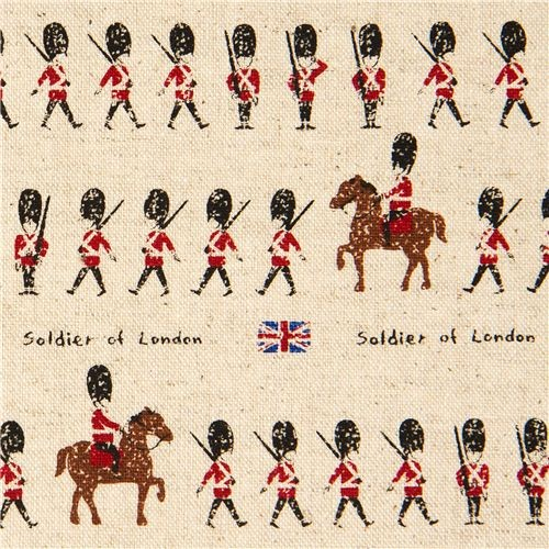 Off White Canvas Fabric London Royal Guards Soldiers
