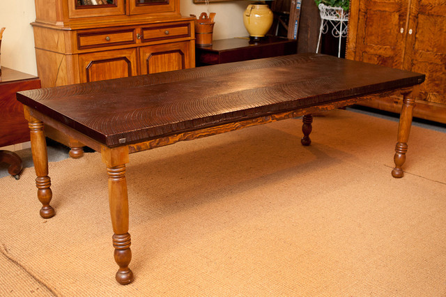 Bonnin Ashley Custom Farm House Table with Turned Cherry Legs & Black Wal