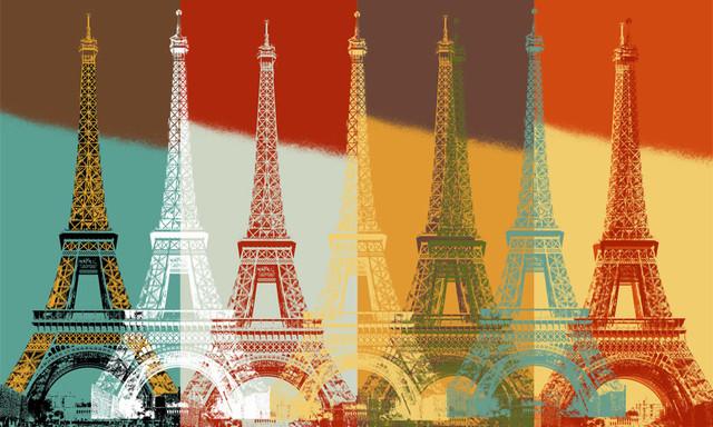 Eiffel tower wall art contemporary wallpaper by for Eiffel tower wallpaper mural