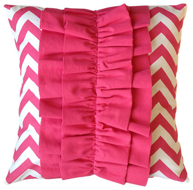 Pink Ruffle Pillow Cover - Contemporary - Decorative Pillows - boston - by I Heart Pillows
