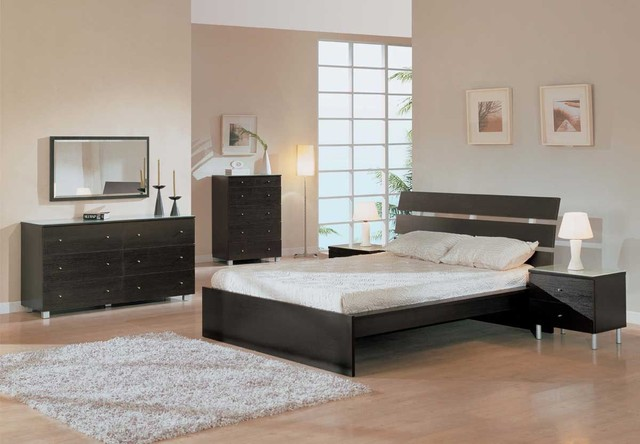 Elegant Wood Modern Master Bedroom Set With Extra Storage Modern Bedroom