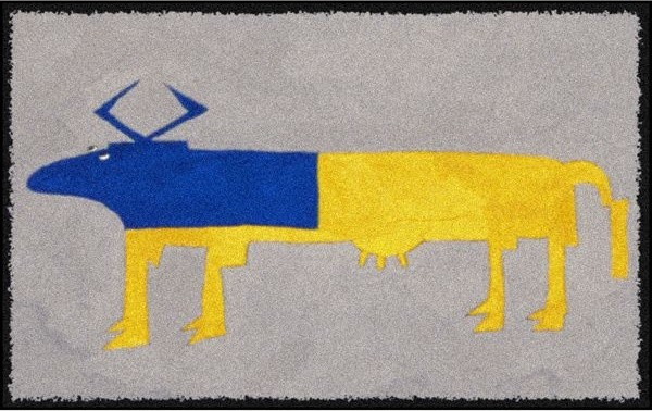 Blue and Yellow Cow Design Outdoor Rug outdoor-rugs