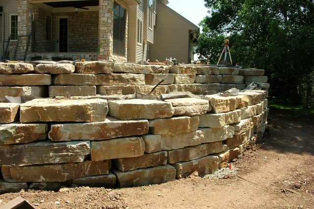 Natural Stone Garden Wall : Outcropping Retaining Wall - Landscaping Stones And Pavers - other ...