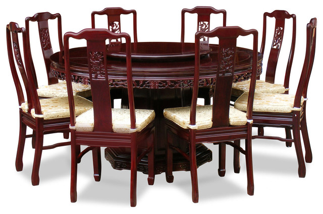 60in Rosewood Flower & Bird Design Round Dining Table with