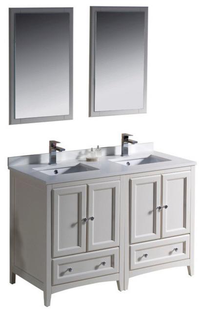 48 Inch Double Sink Bathroom Vanity In Antique White Antique White Transitional Bathroom