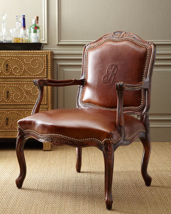 Monogrammed Leather Chair traditional chairs