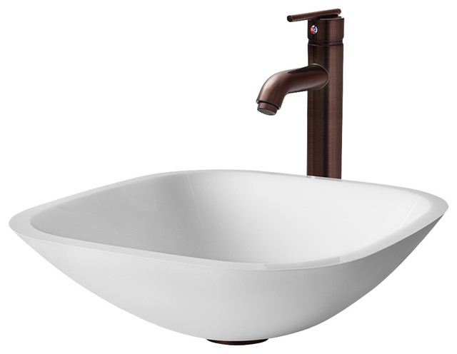 New Oil Rubbed Bronze Bathroom Faucet Vessel Sink Lavatory: VGT206 Square Shaped White Vessel Sink With Oil Rubbed