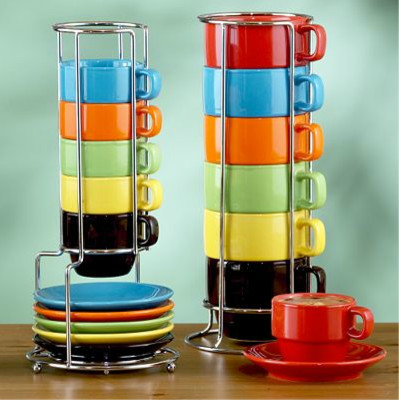 Multicolor Stacking Mugs or Espresso Cups Sets of 6 contemporary-mugs