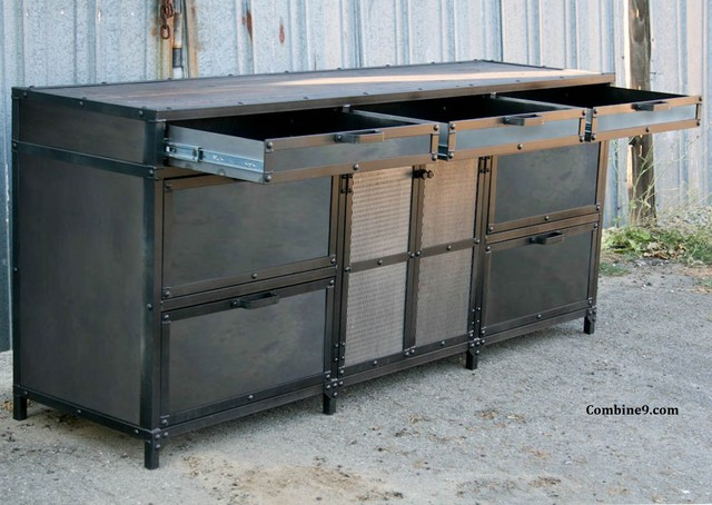Vintage Industrial File Cabinet. Mid Century Modern. Steel and reclaimed wood