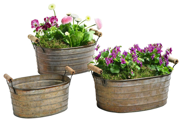 Metal Planter Tubs, Set of 3 - Rustic - Outdoor Pots And Planters - by Pier Surplus