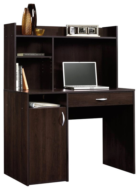 Sauder Beginnings Desk with Hutch in Cinnamon Cherry transitional-desks-and-hutches