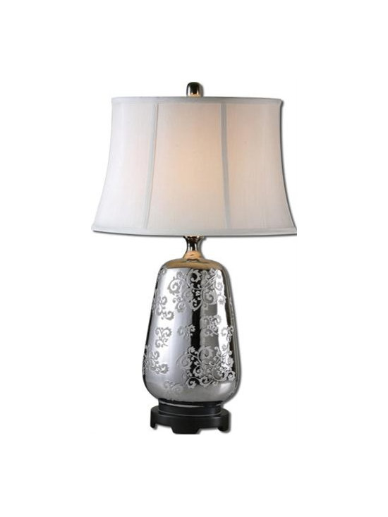 Uttermost Conifer - Etched ceramic with a polished silver glaze and nickel plated details. The oval semi-bell shade is a white linen fabric