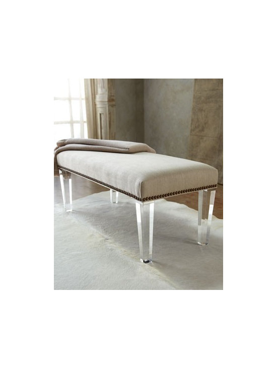 "Massoud ""Elton"" Bench - Not your everyday bench, this one features champagne linen upholstery accented with nailhead trim and clear Lucite® legs for dramatic impact in any room."