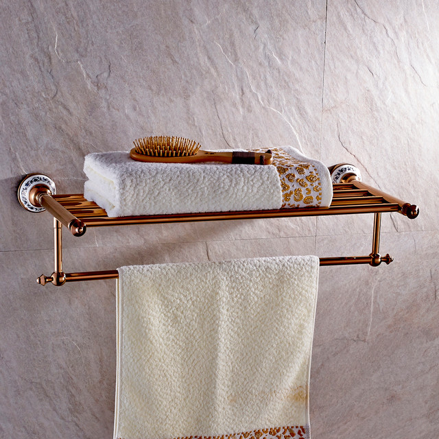 Rose Gold Towel Rack With Ceramic Bathroom Shelf M203 Modern Towel Bars Other Metro By