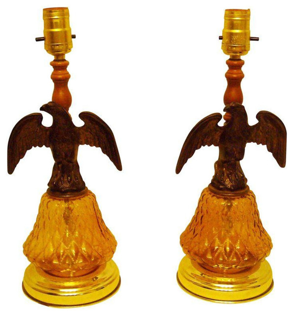 Vintage Pair of Amber Glass Eagle Lamps - $600 Est. Retail - $350 on Chairish.co traditional-table-lamps