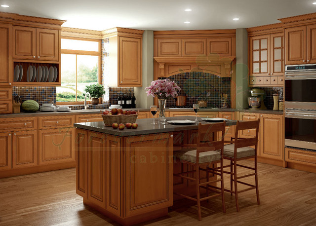 Light Brown Kitchen Cabinets | Sandstone Rope Door | Kitchen Cabinet Kings - Kitchen Cabinetry ...