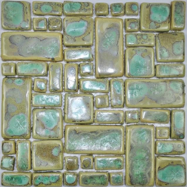 Hand craft porcelain ceramic mosaic wall tile backsplash for Arts and crafts floor tile