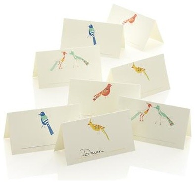 Set of 8 Bird Placecards contemporary-bird-baths