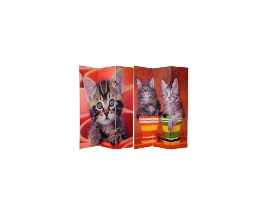 Functional Art/Photography Printed on a 6ft Folding Screen - 6ft tall three panel double sided folding screen divider.  Photo of kittens with vibrant red, green, yellow and orange colors.