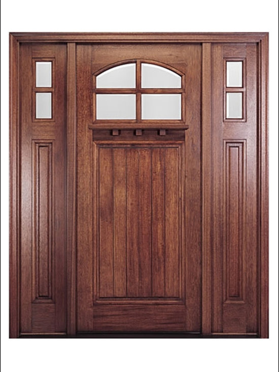 MAI - Craftsman Entry Door Model HTC-400 - Model HTC-400 is from our Home Towne Collection. Door is solid Mahogany.  Styled for Craftsman and Arts & Crafts Homes.  This door can be purchased as one door, two doors, or doors with matching sidelites.