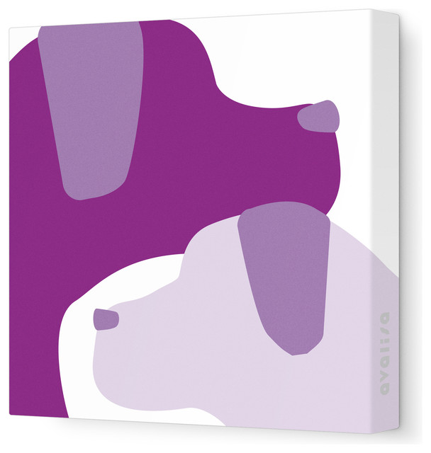 """Animal - Dogs Stretched Wall Art, 28"""" x 28"""", Purple Hue contemporary-kids-wall-decor"""
