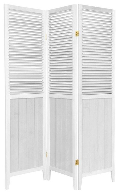 5.25 ft. Tall Beadboard Divider, White, 3 Panel transitional-screens-and-room-dividers