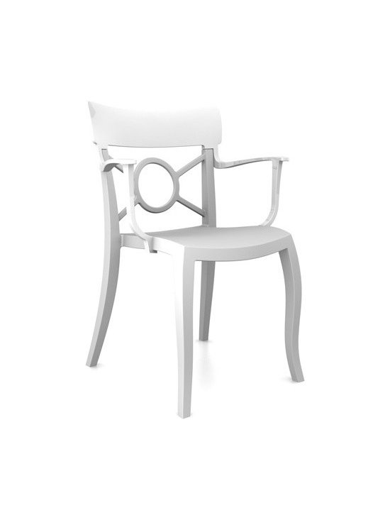 Papatya - Papatya | Opera K Armchair, Set of 4 - Classical elegance and modern sensibility are combined in the Opera K Armchair. Opera K's graceful design and subtle curves meet a modern finishing of polypropylene and polycarbonate plastics, thus making it a classy yet durable armchair suitable for indoor and outdoor use and easily stackable for storage.  Select from 4 different color combinations. Sold in sets of 4.