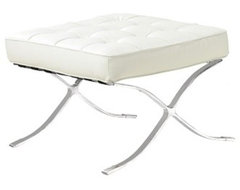 Europa White Leather Ottoman contemporary-ottomans-and-cubes