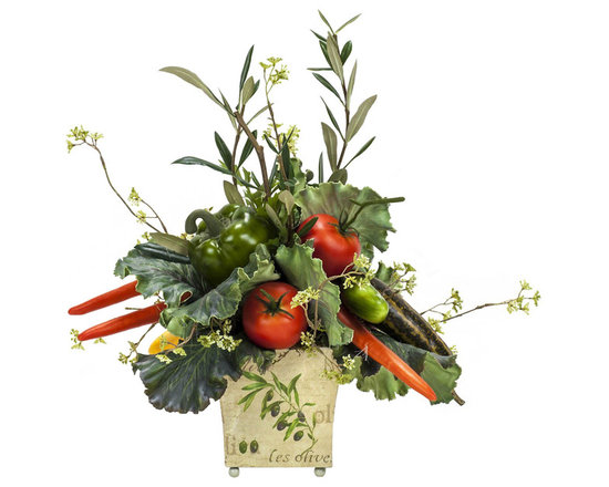 Veggie Arrangement - Just what the doctor ordered! Get your daily dose of veggies by displaying this whimsical arrangement of carrots, peppers, tomatoes and greens. Add a burst of color to the kitchen while giving props to nature's most radiant nutrients.