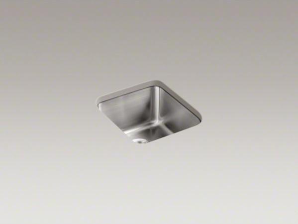 "KOHLER Undertone(R) 15-3/4"" x 17-1/2"" x 9-5/8"" medium squared under-mount single contemporary-kitchen-sinks"