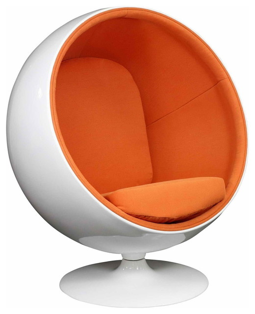 MODERN BALL SHAPED ORANGE LOUNGE CHAIR INSPIRED BY EERO AARNIO DESIGN Moder