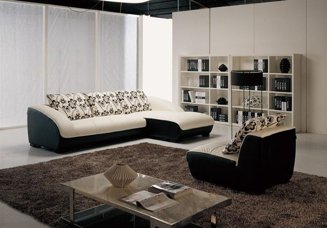 Contemporary Covered in All Leather Sectional with Pillows contemporary-sectional-sofas