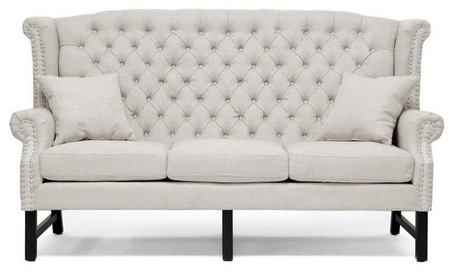 Sussex Beige Linen Sofa Contemporary Sofas