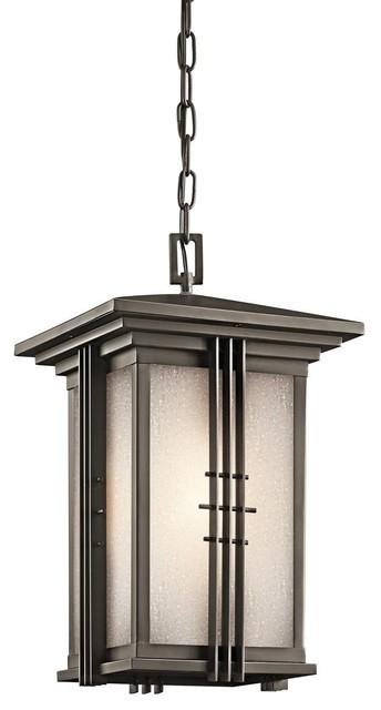 Kichler Portman Square Outdoor Chain Hung Lighting Fixture in Olde Bronze craftsman-outdoor-lighting