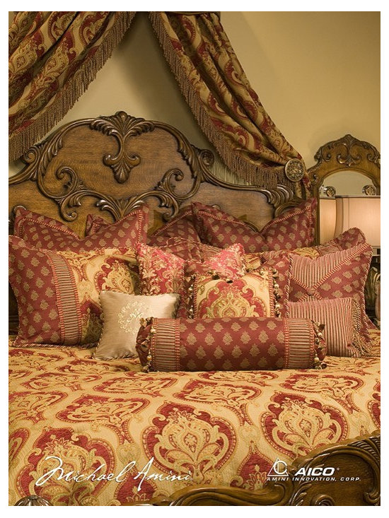 AICO Furniture - Emelie Luxury Bedding Sets - BCS-KS13-EMELIE-RED - Exclusive Michael Amini Series Design from AICO