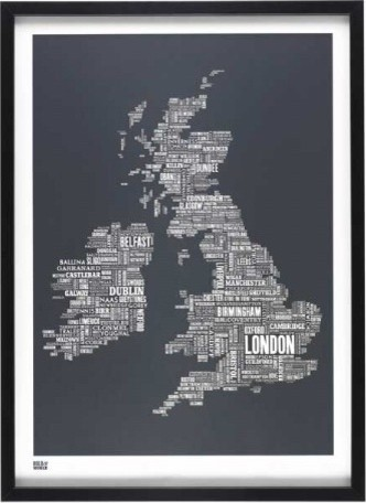 UK Map eclectic artwork