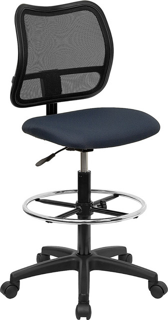 Mid-back Mesh Drafting Stool with Navy Blue Fabric Seat contemporary-office-chairs