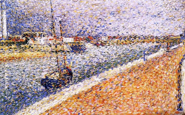 """Georges Seurat Study for 'The Channel at Grvelines, Petit-Fort-Phillipe - 16"""" x traditional-artwork"""